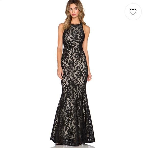 Jarlo Dresses Black Lace Low Back High Neck Mermaid Gown Poshmark